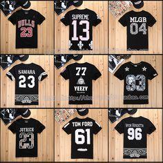 Free Shipping 2014 Fashion Hip-Hop 23 letter short-sleeve men's hiphop clothing digital 100% cotton short-sleeve t-shirt US $19.50