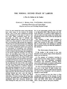 THE NORMAL SECOND STAGE OF LABOUR  A Plea for Reform in Its Conduct  BY Constance L Beynon