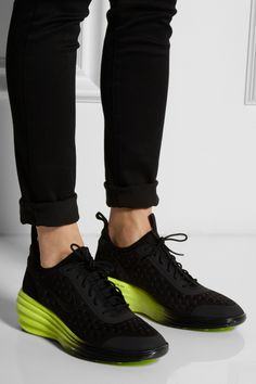 e4732745e64419 Black and neon green wedge sneakers