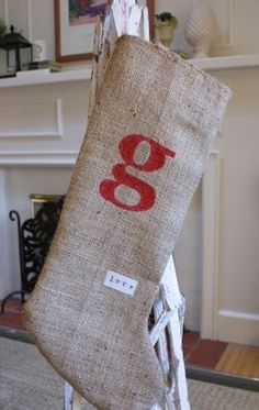 Christmas Stocking with printed initials