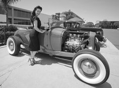 Gina Elise of PIN UPS FOR VETS with my 1929 Ford Hot Rod.