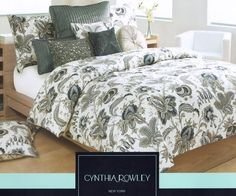 Cynthia Rowley 3pc Queen Duvet Cover Set Beautiful Jacobean Floral White Navy Blue Beige