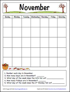 FREE November calendar for kids! Perfect for practicing early calendar skills~ BuggyandBuddy.com