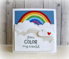 Lawn Fawn - Puffy Cloud Borders, Rainbow, Spring Showers, Stitched Square Stackables, Color My World _ card by Nancy for Lawn Fawn Card Making Inspiration, Making Ideas, Lawn Fawn Blog, Lawn Fawn Stamps, Rainbow Card, Marianne Design, Copics, Card Tags, Creative Cards