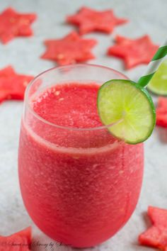 Watermelon, lime, rum and a little bit of sugar make absolutely refreshing summer drink. Simple, delicious and relaxing!