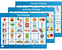 Activity and Choice Boards for Autism Autism Learning, Learning Support, Social Emotional Learning, Kids Learning Activities, Speech Therapy Activities, Social Skills, Communication Pictures, Communication Boards, Preschool Activity Books