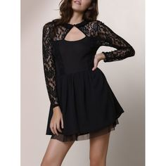 Alluring Round Neck Long Sleeve Hollow Out Solid Color Women's Dress — 19.03 € Size: XL Color: BLACK