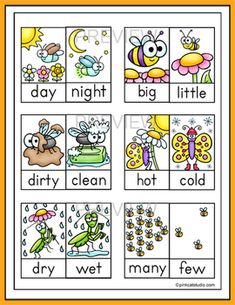 Antonyms Game - Bugs & Insects Matching File Folder Game by Pink Cat Studio Learning English For Kids, English Worksheets For Kids, English Lessons For Kids, Kids English, English Activities, Preschool Learning Activities, Spring Activities, Teaching English, Book Activities