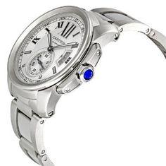 Mens W7100015 Calibre De Cartier Silver Opaline Dial Watch from Cartier