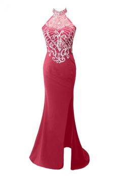 Luxury Rose Red Chiffon Beaded Mermaid Evening Dresses Charming Vestido De  Festa High Neck Long Prom Gown e2139316092e