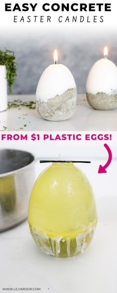 DIY Concrete Easter Candle Here& a fun DIY Easter Egg. Half concrete half candle and serves as a ring dish once the candle burns out! :D Full tutorial with video- Diy Spring, Spring Crafts, Diy Craft Projects, Diy Crafts, Recycle Crafts, Party Crafts, Tree Crafts, Craft Tutorials, Holiday Crafts