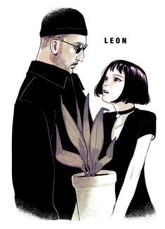 Leon: the professional ART - Leon and Mathilda Movie Wallpapers, Cute Wallpapers, Leon The Professional, Natalie Portman Leon, Leon Matilda, Mathilda Lando, Space Drawings, Jean Reno, Pinturas Disney