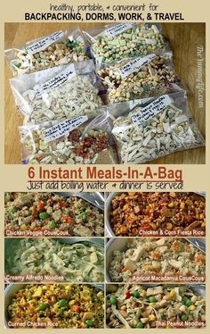 6 Instant-Mahlzeiten für unterwegs - Zelten 6 Instant Meals-On-The-Go 6 Instant meal on the go. Nutritious and easy for backpacking, camping, dorms, office and travel. Make Ahead Meals, Easy Meals, Instant Recipes, Backpacking Food, Ultralight Backpacking, Dehydrated Backpacking Meals, Dehydrator Recipes, Meals In A Jar, Camping Hacks