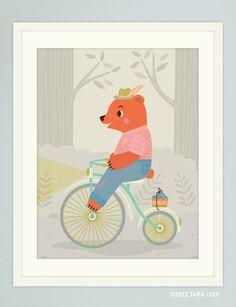 Animal Bike Ride Mr. Bear Children's Nursery Art Gliclee Print by Tara Lilly