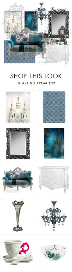 """""""Baroque in Blue"""" by angela-l-s ❤ liked on Polyvore featuring interior, interiors, interior design, home, home decor, interior decorating, Jaipur, Tiffany & Co. and Wedgwood"""