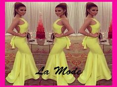 Yellow Mermaid Long Prom Evening Dresses via La Mode. Click on the image to see more!