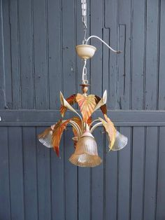 Vintage french tole ware 3 lamp chandelier ceiling by Frenchidyll