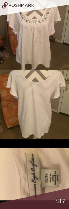 American Eagle top American Eagle top. XL   100% Cotton   Boho beading in the front American Eagle Outfitters Tops Blouses