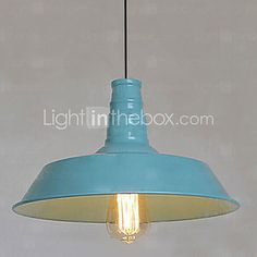 Bulb Included Pendant, 1 Light, American Style Rustic Metal Painting - USD $60.07