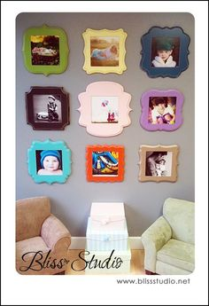 """Have you heard of The Organic Bloom frame company before? They sell beautiful and ornate frames in all shapes and … Continue reading """"Sunday Showcase Cute Frames, Picture Frames, Picture Frame Arrangements, Organic Bloom Frames, Funky Furniture, Inspiration Wall, Diy Frame, Home Photo, Photo Displays"""