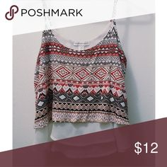 High-low crop top Lightly worn and straps are adjustable  100% Rayon and 100% Polyester Forever 21 Tops Crop Tops