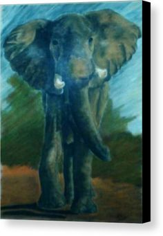 """African Elephant: A soft pastel drawing of an elephant printed on to premium stretched canvas over a wooden frame by Kelly Goss Art. Delivered """"ready to hang"""". Perfect to brighten up and decorate your home. Fit for any wall in any room. The special gift to spice up a friend's home decor. For a lover of animals and African wildlife art."""