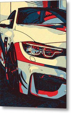 BMW M4 CS Artwork Metal Print by New Art