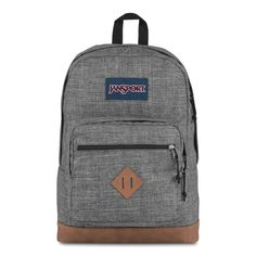 JanSport City View Backpack Heathered 600D features Internal laptop sleeve fits up to 15-in. laptop Spacious main compartment holds all of your gear Hidden back stash pocket Padded shoulder straps for comfortable carrying Front utility pocket with organizer Zippered front stash pocket Synthetic leather bottom adds durability Web haul handle Handbags For School, School Bags, Jansport Backpack, Herschel Heritage Backpack, School Backpacks, Shoulder Straps, Laptop Sleeves, Vogue, Handle