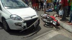 NONATO NOTÍCIAS: CARRO  BATE EM MOTO,  E MOTOQUEIRO FICA FERIDO