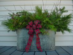 Love this for my porch! Time to head up to the attic, I've got an old boiler up there! Christmas 2017, Christmas Projects, Winter Christmas, Christmas Love, Modern Christmas, Christmas Porch Ideas, Cabin Christmas, Outdoor Christmas Decor Porches, Christmas Planters