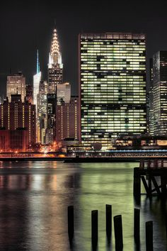 NYC. Manhattan. The East River at night