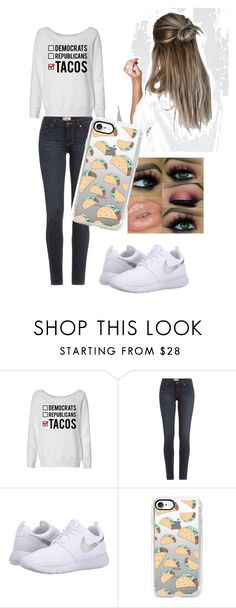 """""""taco outfit"""" by bamagirl2003 ❤ liked on Polyvore featuring Paige Denim, NIKE and Casetify"""