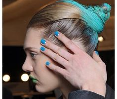 Blue dyed french bun