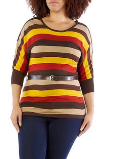 Plus-Size Library Knit Belted Tunic @Debbie Roberts 16.99