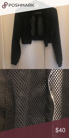Black DREAM STATE cropped bomber - size small Cropped black mesh bomber - LF LF Jackets & Coats