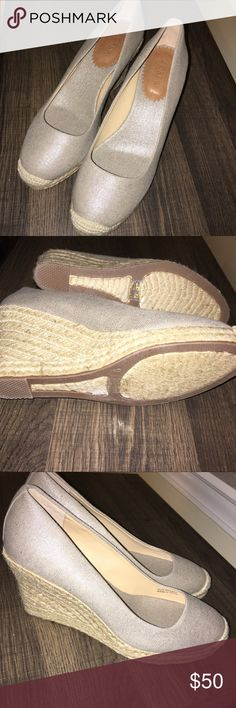 Metallic Seville j crew espadrille wedges Like new condition! J. Crew Shoes Wedges