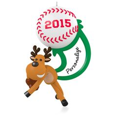 Star Slugger Personalized Baseball Softball Ornament.  Stickers included for personalization.  Available:  October 2015  $12.95