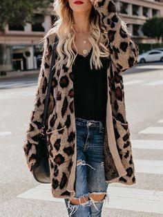 5ae3b8e48e7ad Leopard Print Casual Loose Mid-Length Cardigan Sweater