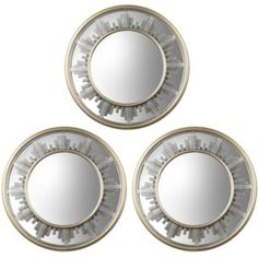 Set of 3 Skyline Bordered Round Wall Mirrors  found at @JCPenney