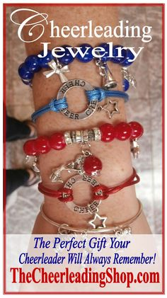 Are you looking for the perfect gift or award for your cheerleaders? We are loving these GORGEOUS Cheerleading Charm Bangle Bracelets that are individually packaged in keepsake drawstring bags from TheCheerleadingSh.... Also they have a HUGE selection and you can SAVE 10% with the coupon code CICPINTEREST!!! :-)