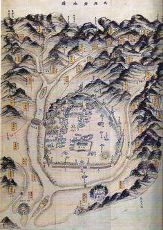 함흥부지도(咸興府地圖) 채색필사본. 1872년. 112.0 * 76.0cm. 서울대학교 규장각 소장