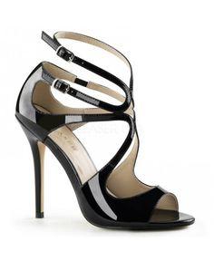 ESCARPINS TALONS HAUT À BRIDES NOIRES AMUSE PLEASER Pleaser Shoes