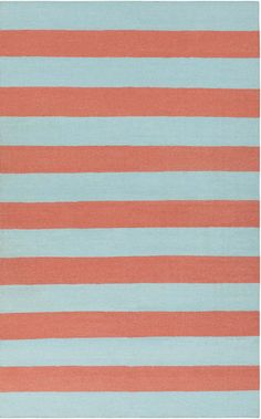 Beach Style Rug - Boardwalk Stripes FT-301 in Coral & Sky Blue buy online at Blue Barnacles www.bluebarnacles.com