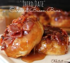 Caramel Bacon Buns. These look AMAZING.  Refrigerated canned biscuits, jar of caramel sauce, crumbled baon.
