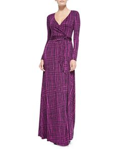 """Rachel Pally $290 Neiman Marcus; Harlow Long-Sleeve Printed Maxi Dress, Women's  Rachel Pally """"Harlow"""" aura sisal graphic printed jersey dress. Surplice neckline. Long sleeves. Fitted top with draping. Self-tie belt at gathered waist. Flowing skirt falls to floor. Modal/spandex; dry clean. Made in the USA."""