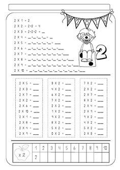 Nom: Data: 2 x 1 = 2 2 x 2 = 2 + 2 = 4 2 x 3 = 2 + 2 + 2 = 2 x 4 _ = _ + _ + _ + _ = _ 2 x 5 = _ + _ + + _ _. Math Worksheets, Math Resources, Math Activities, Teaching Tips, Teaching Math, Math Multiplication, Primary Maths, 2nd Grade Math, Arithmetic