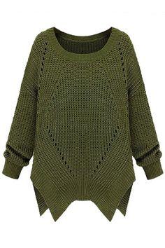 ROMWE | ROMWE Asymmetric Cut-out Long Sleeves Green Jumper, The Latest Street Fashion