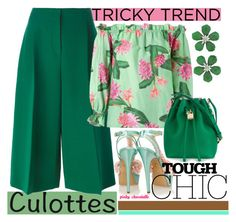 """""""Tricky Trend - Chic Culottes: 09/06/16"""" by pinky-chocolatte ❤ liked on Polyvore featuring Valentino, Isolda, Charlotte Olympia, Dolce&Gabbana and Siman Tu"""
