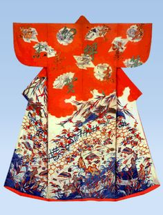 Kosode with design of scenes from The Tale of Genji Paste-resist dyeing(Yuzen) and embroidery on parti-colored silk crepe(chirimen)