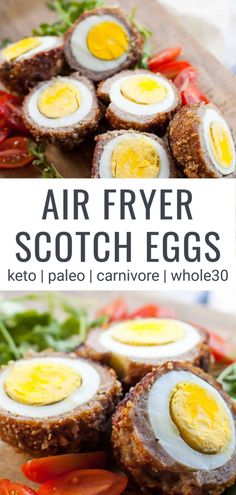 Using the air fryer, you can make a perfect scotch egg with 3 simple ingredients, eggs, ground sausage and pork panko or breadcrumbs. Scotch Eggs Recipe, Deviled Eggs Recipe, Egg Diet Plan, Ground Sausage, Ground Beef, Pub Food, Healthy Recipes, Diet Recipes, Pork Recipes